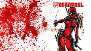 Lady Deadpool karatasi la kupamba ukuta - Blood Splatter