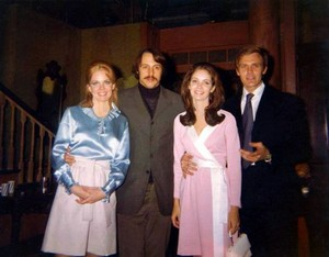 Lara Parker with her first husband, Tom Parker, and Roger Davis with his first wife, Jaclyn Smith.