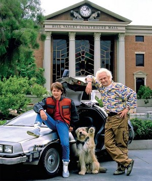 Marty McFly, Einstein & Doc Brown Next To DeLorean In Front Of A Hill Valley Courthouse Mall