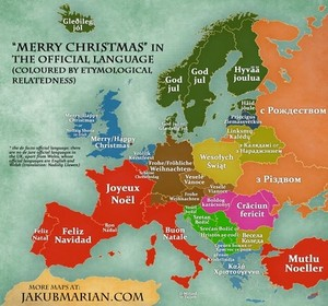 Merry Рождество In Different Languages (Europe)