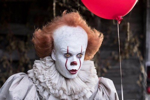 Horror films achtergrond titled Pennywise from IT (2017)