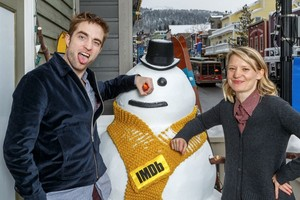 Robert and Mia promoting their movie Damsel in Colorado