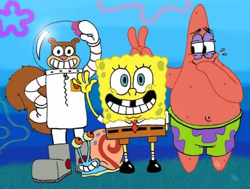 SpongeBob SquarePants hình nền entitled Spongebob, Patrick, Sandy and Gary