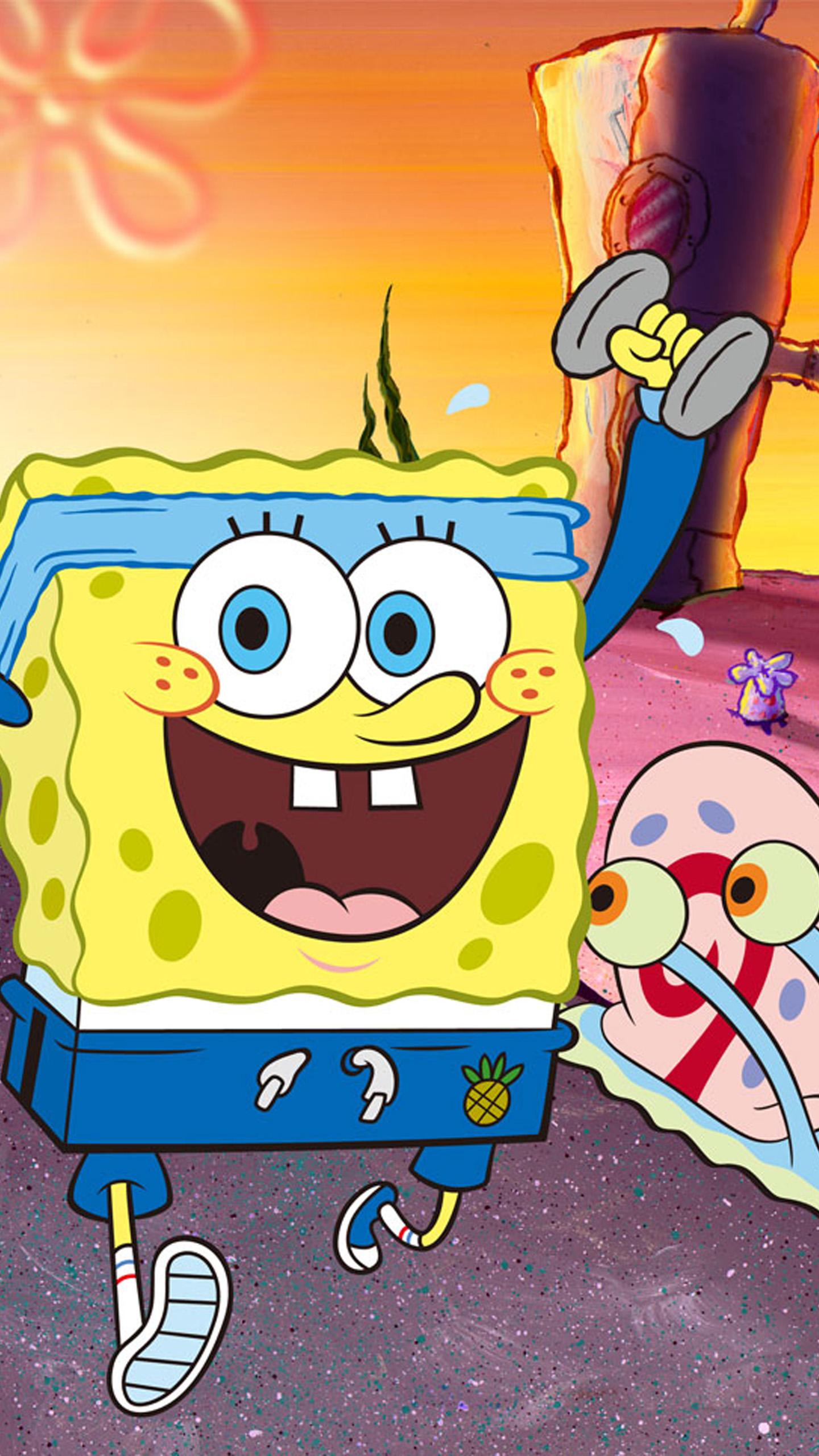 Spongebob Squarepants Wallpaper Titled Spongebob And Gary Racing