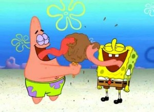 Spongebob and Patrick eating ice cream