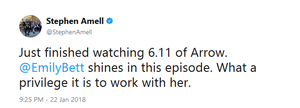 Stephen's tweet about Emily