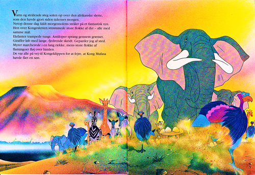 Walt Disney Characters wallpaper called Walt Disney Book Scans – The Lion King: The Story of Simba (Danish Version)