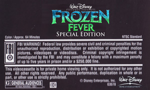 Walt Disney's Frozen Fever Special Edition (2004) VHS Black