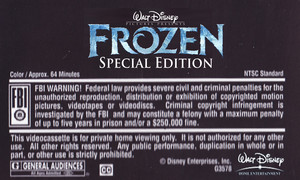 Walt Disney's Frozen Special Edition (2004) VHS Black