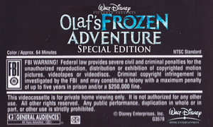 Walt Disney's Olaf's 겨울왕국 Adventure Special Edition (2004) VHS Black