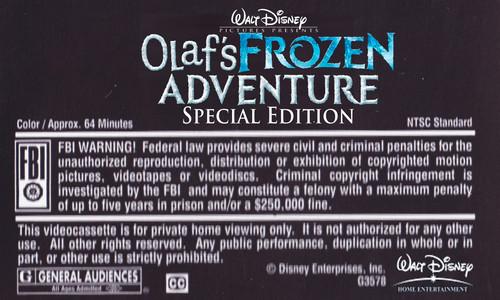 La Reine des Neiges fond d'écran called Walt Disney's Olaf's La Reine des Neiges Adventure Special Edition (2004) VHS Black