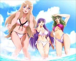 Yuna,Saori and Shaina(Saint Seiya Omega)