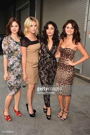 actresses rachel korine ashley benson vanessa hudgens and selena are picture id151459240