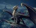 art nick deligaris dragon rider mountain castle tower 94138 1280x1024