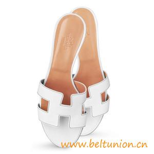 original sandalia hermes oasis slippers calfskin heel white