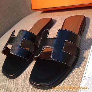 original sandalia hermes slippers calfskin light black 1