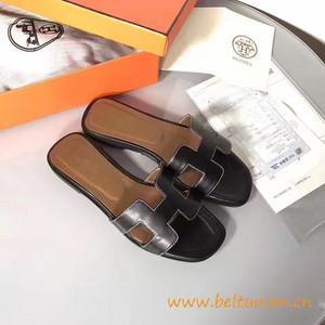original sandalia hermes slippers calfskin light black 2