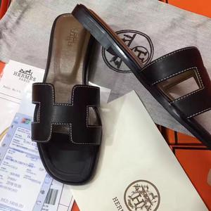original sandalia hermes slippers calfskin light black 3