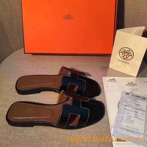original sandalia hermes slippers calfskin light black 5