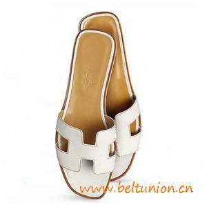 original sandalia hermes slippers calfskin snow white