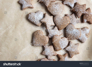 stock photo cœur, coeur and étoile, star shape oatmeal ginger biscuits, cookies perfect baking idea for christmas time festi