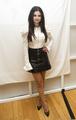 t shirt and leather short skirt - selena-gomez photo