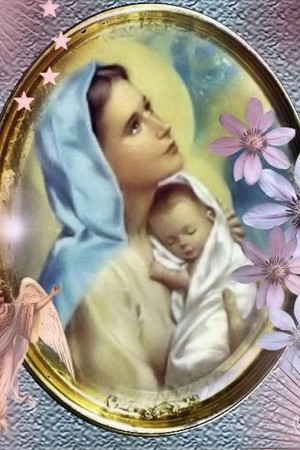 Baby jesús with his Mother