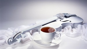 Beautiful white wallpaper special guitar and hot tea