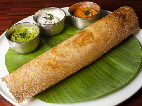 Indian Food wallpaper entitled Crispy Dosa Sambar Chutneys