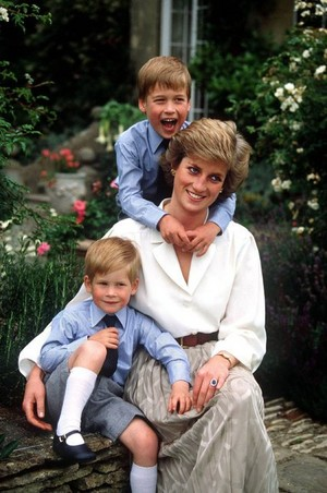 Diana With Her Sons William And Harry