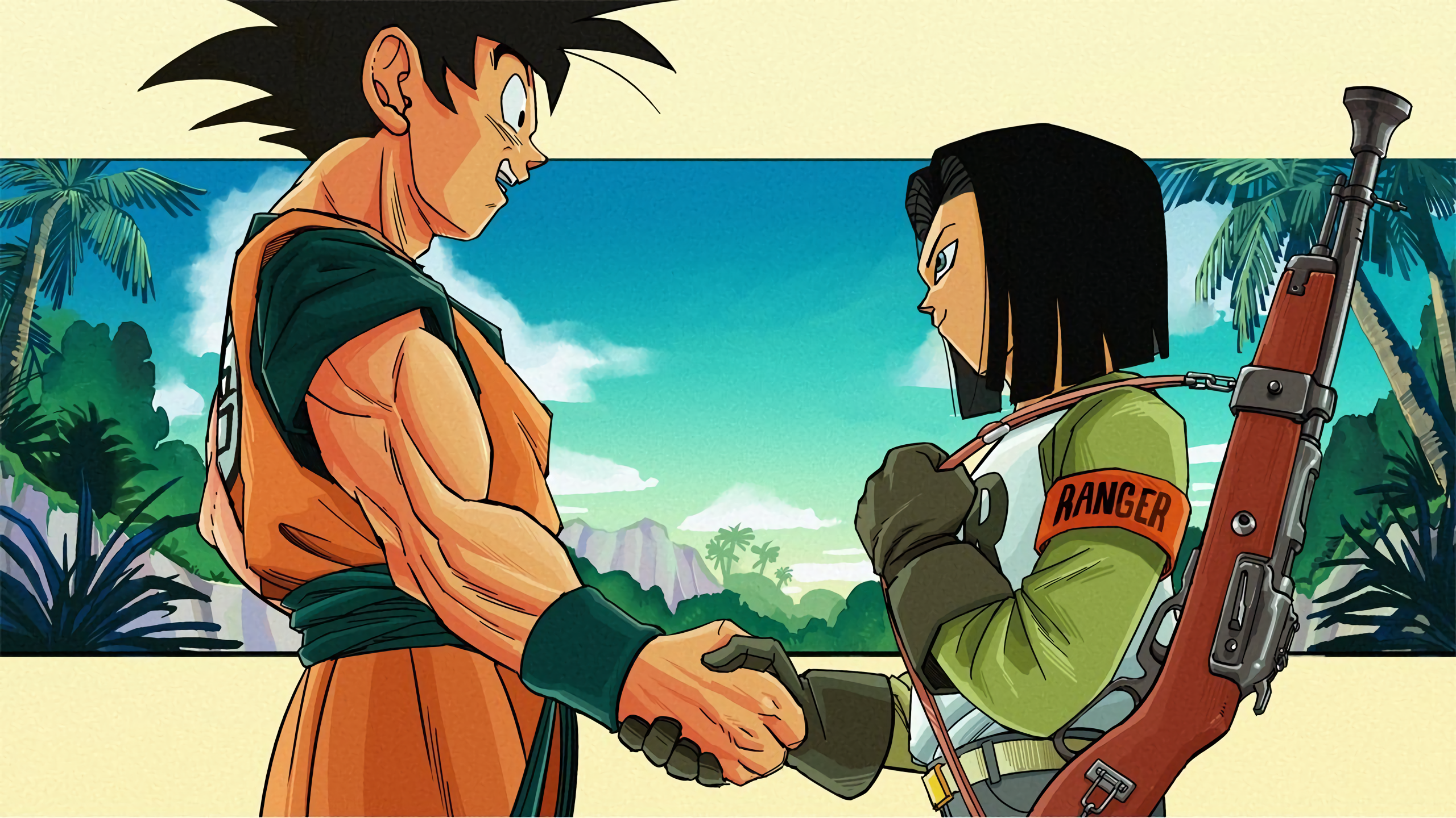 Android 17 Images Goku And Android 17 Handshake Hd Wallpaper And