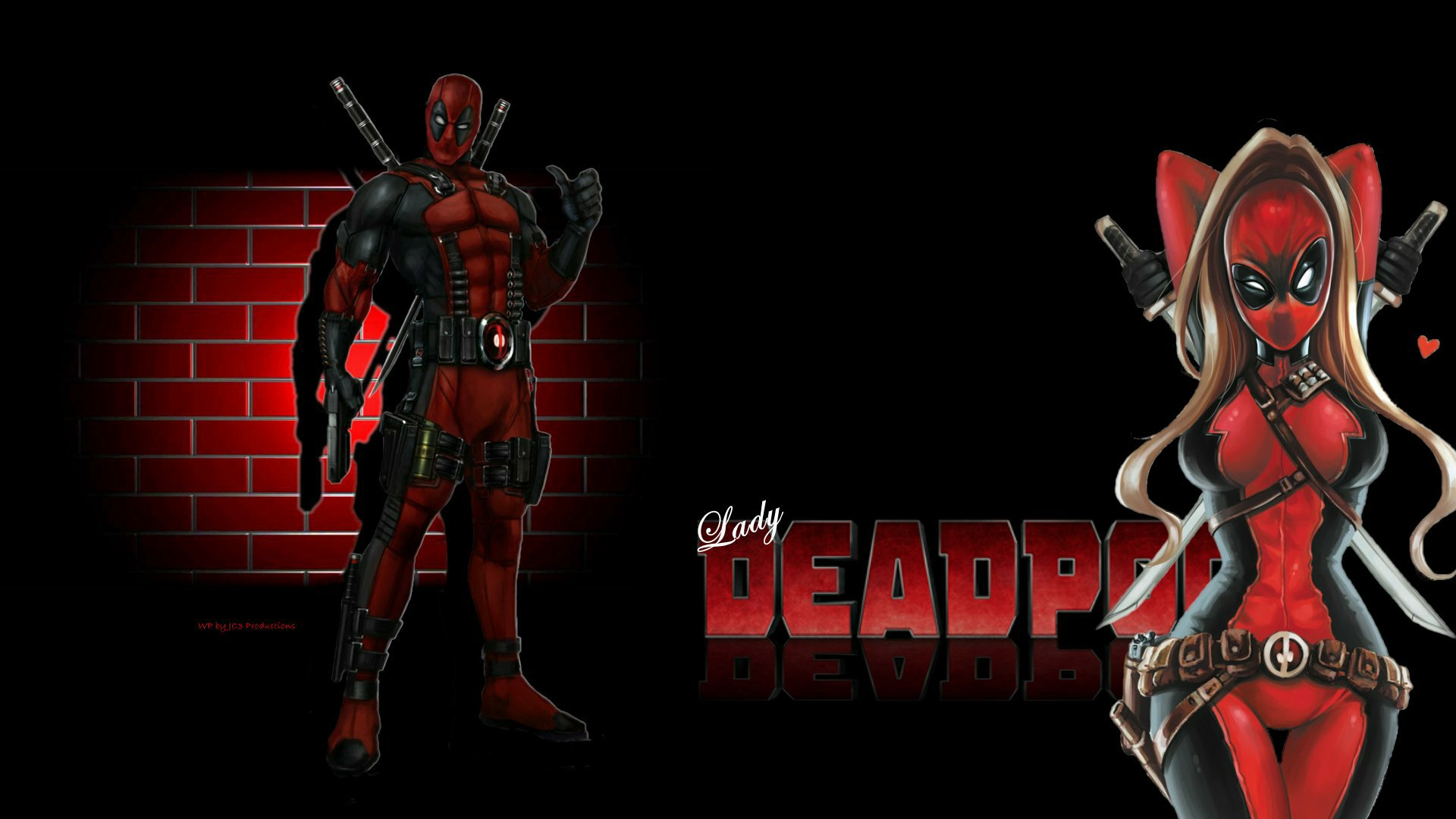 Lady Deadpool Wallpaper Brick Wall 2