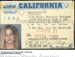 Lisa Marie's Old Driver's License
