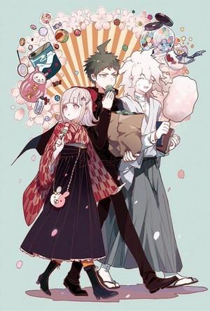 Nagito Komaeda, Chiaki Nanami, and Hajime Hinata| Danganronpa