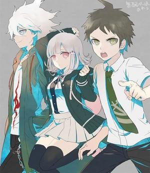 Nagito Komaeda, Chiaki Nanami, and Hajime Hinata | Danganronpa