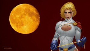 PowerGirl Yellow Moon پیپر وال