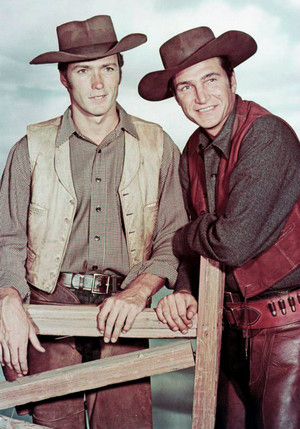 Rowdy Yates and Gil Favor (Clint Eastwood and Eric Fleming) publicity photo for Rawhide 1959