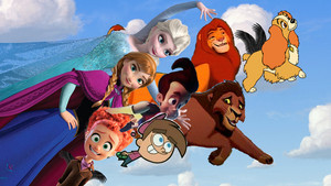 Simba, Kovu, Anna, Elsa, Timmy, Jimmy, Lady & tulip Flying