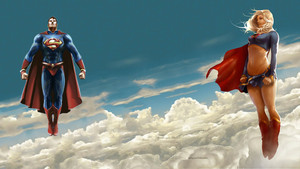 Superman Supergirl in The Clouds