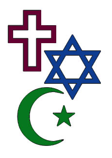 Symbols of all 3 Abrahamic religions