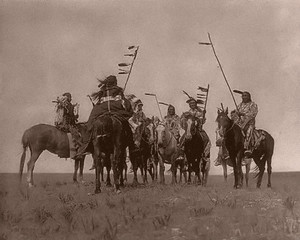 A group of Native American men on horseback Photograph by Edward Curtis taken in 1908