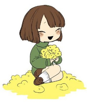 Chara Dreemurr with Golden fiori
