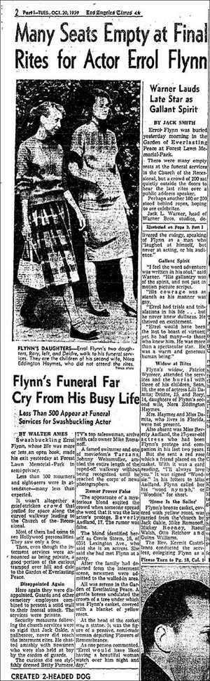 article Pertaining To Errol Flynn's Funeral