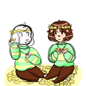 Asriel and Chara making 花 Crowns