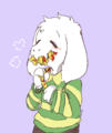 Asriel enjoying some French Fries