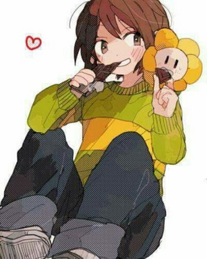 Chara and Flowey Sharing chokoleti