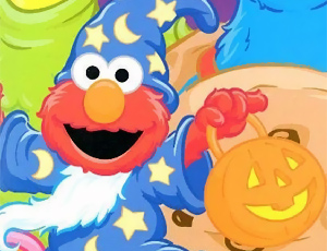 Elmo as a Wizard (Sesame calle halloween Card)