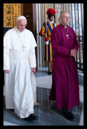 Justin Welby, The Archbishop Of Canterbury, Meets Pope Francis In The Vatican City