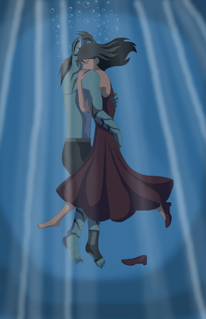 Lagoon Boy and Supergirl hugging eachother while underwater