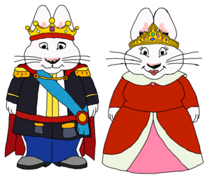 Max and Ruby's parents - King and क्वीन